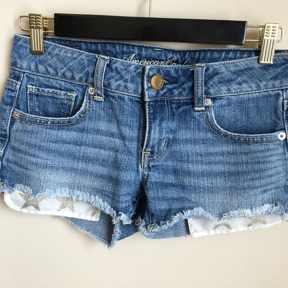 American Eagle Outfitters Pants - American Eagle Glitter Star Cutoff Jean Shorts